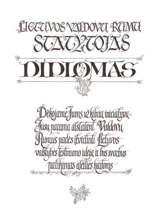 Valdovu rumu Diplomas s
